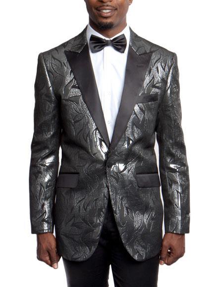 Men's Black Slim Fit Tuxedo Jacket 100% Wool Blazer Fancy