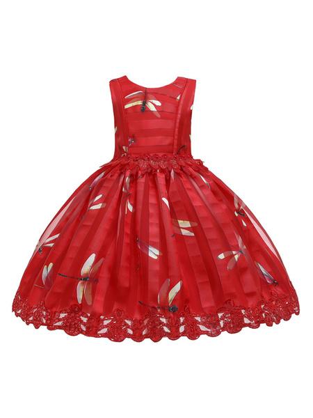 Milanoo Flower Girl Dresses Red Jewel Neck Sleeveless Applique Kids Party Dresses
