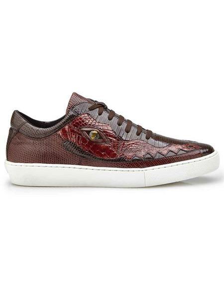 Mens Brown Crocodile Lace Up Shoe