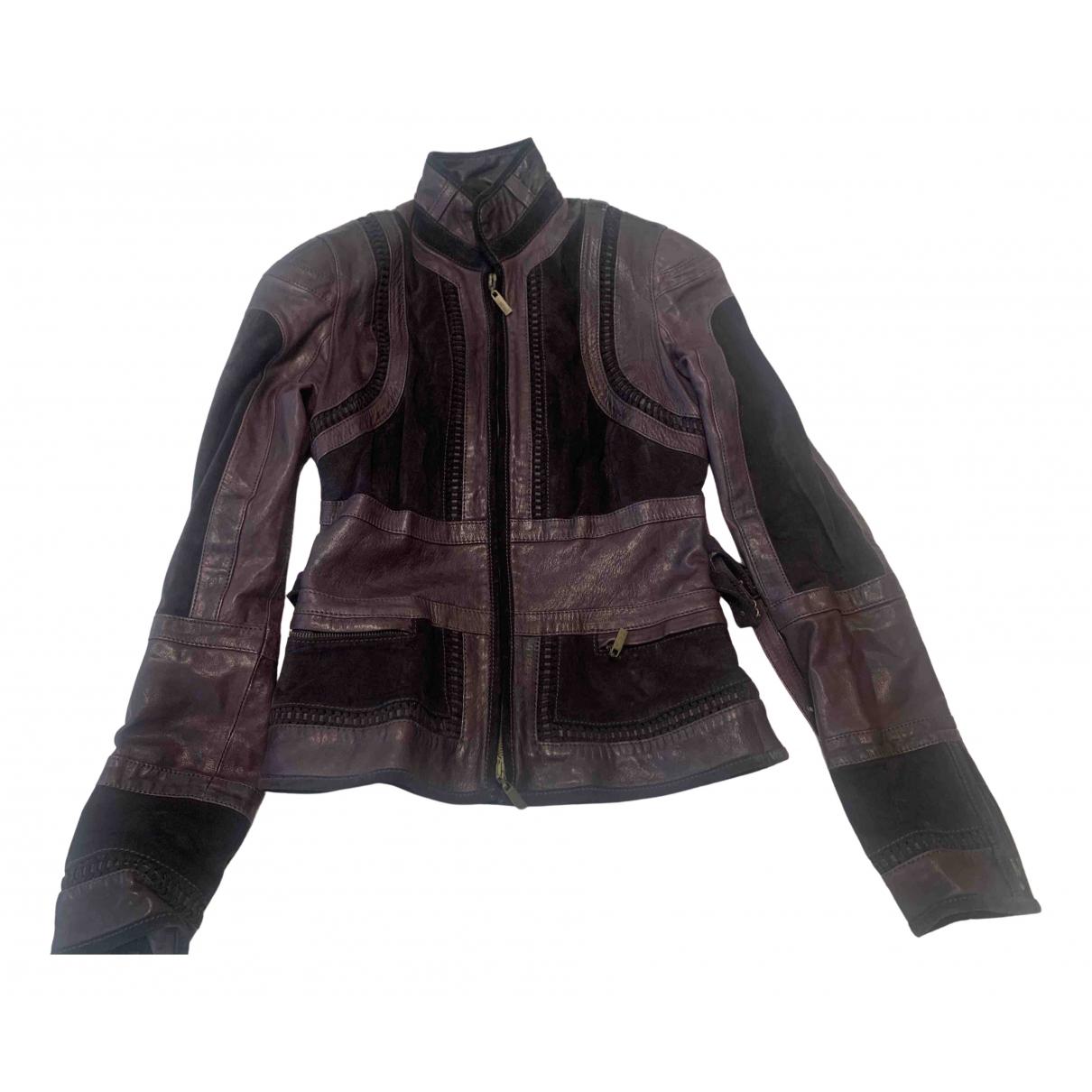 Just Cavalli N Purple Leather jacket for Women 40 FR