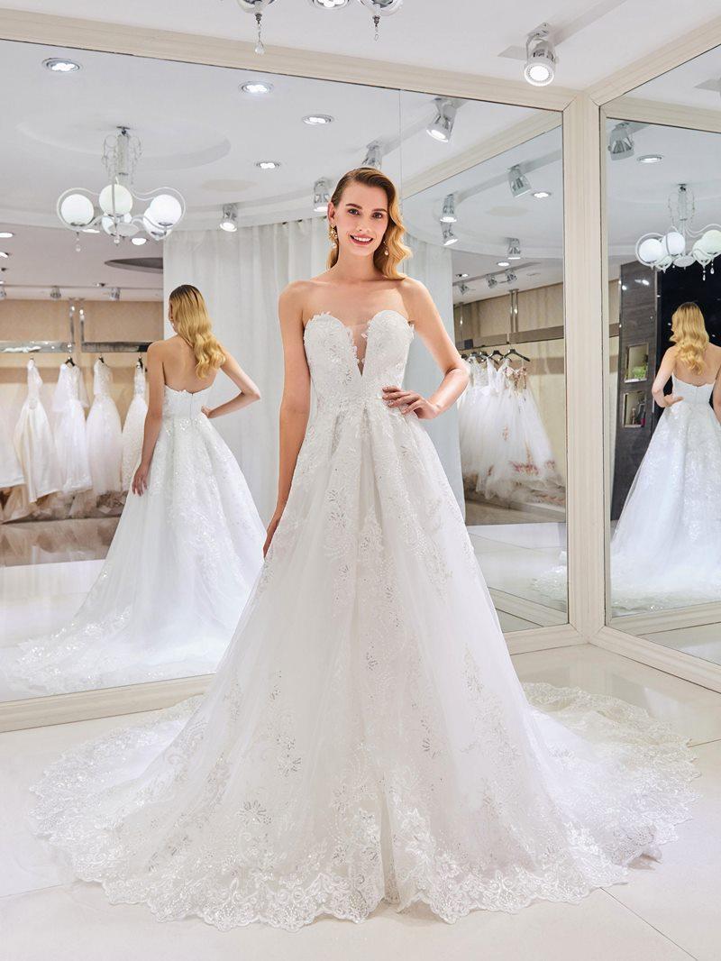 Ericdress Sequins Appliques Court Train Wedding Dress