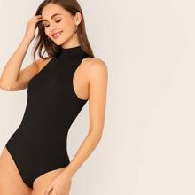 Solid Halter Neck Skinny Bodysuit