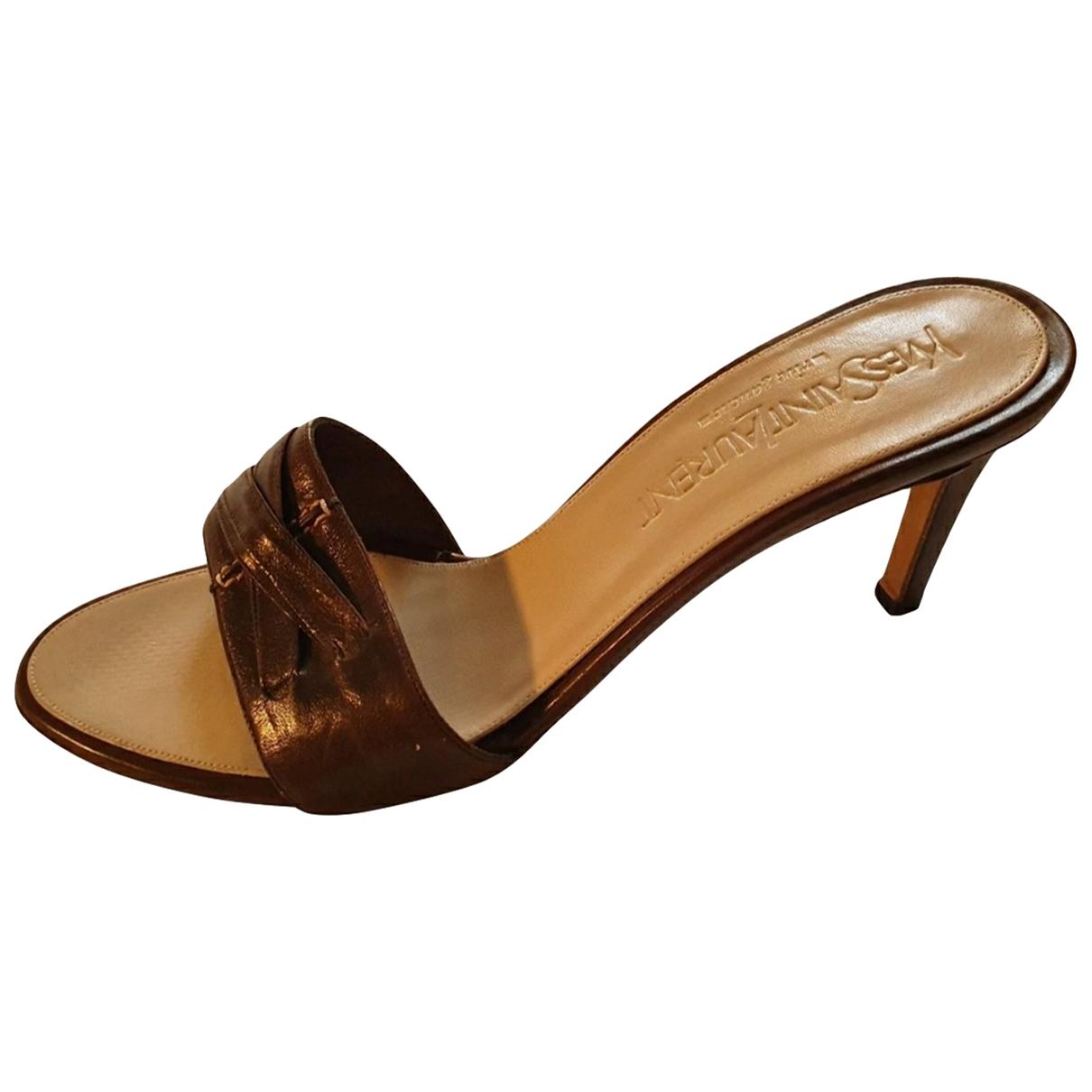 Yves Saint Laurent - Sandales   pour femme en cuir - marron