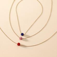 3pcs Rhinestone Decor Ball Charm Necklace