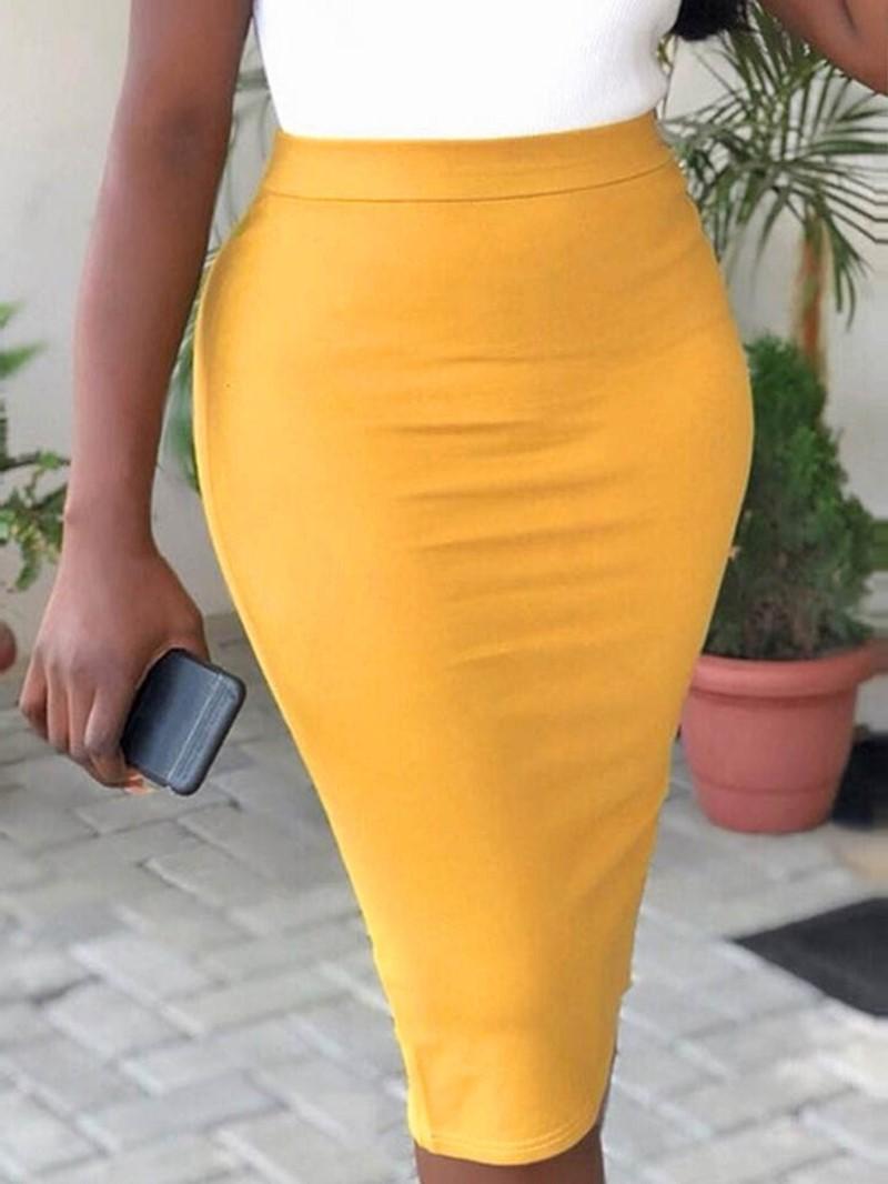 Ericdress Knee-Length Bodycon Plain Office Lady Slim Skirt
