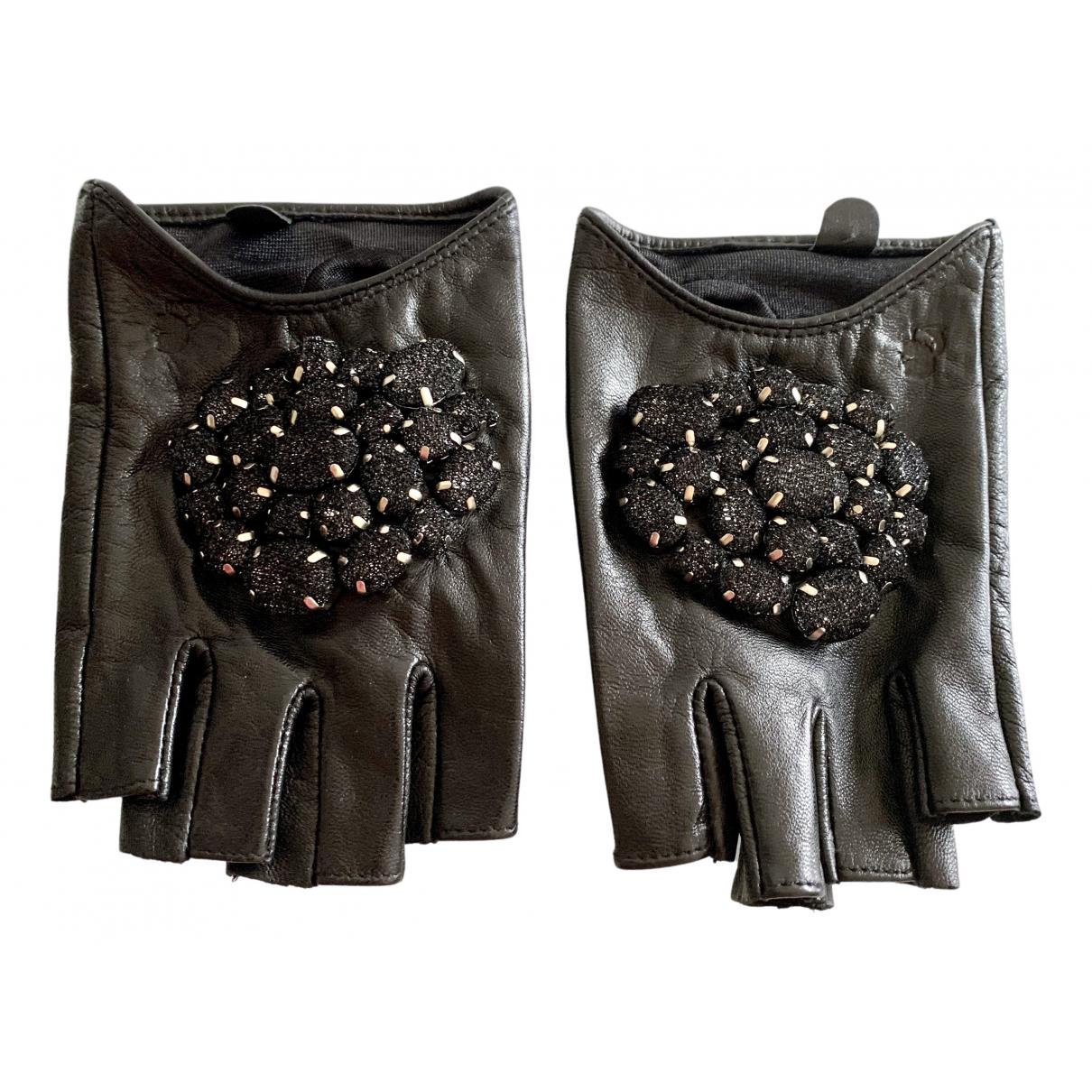 Karl Lagerfeld \N Black Leather Gloves for Women M International