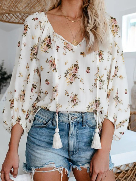 Yoins Floral Print Tassel Details Tie-up V-neck Long Sleeves Blouse