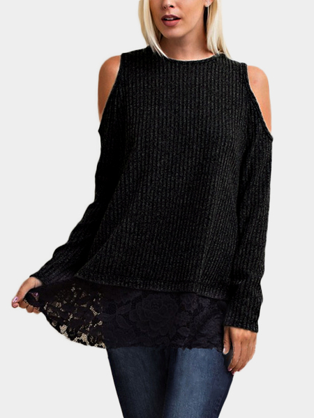 Yoins Black Lace Insert Cold Shoulder Causal Long Sleeves T-shirt