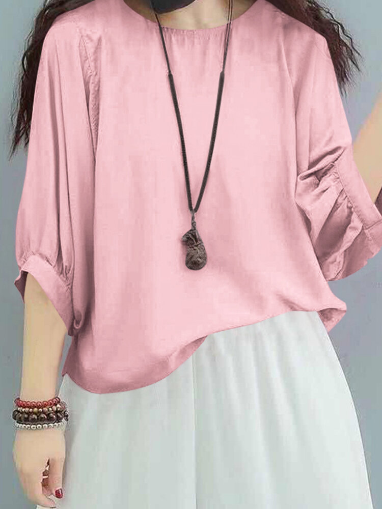 Solid Color O-neck Casual Plus Size Blouse
