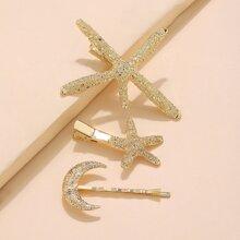 3 Stuecke Haarspangen mit Mond & Stern Dekor