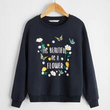 Girls Slogan & Floral Print Drop Shoulder Sweatshirt