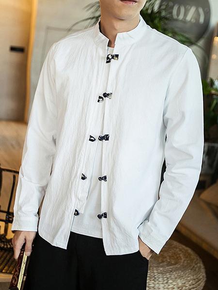 Yoins Men Chinese Style Loose Casual Long Sleeve Shirt