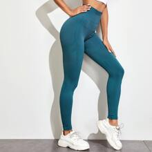 Einfarbige Sports Leggings mit breitem Band