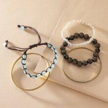 Armband mit Perlen & geflochtener Schnur
