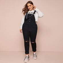 Plus Ripped Button Front Denim Overall