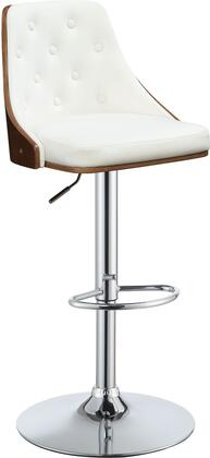 Camila Collection 96751 Stool with Adjustable Height  Swivel Seat  Footrest Ring  Chrome Pedestal Base  Walnut Finish Curved Backrest and PU Leather