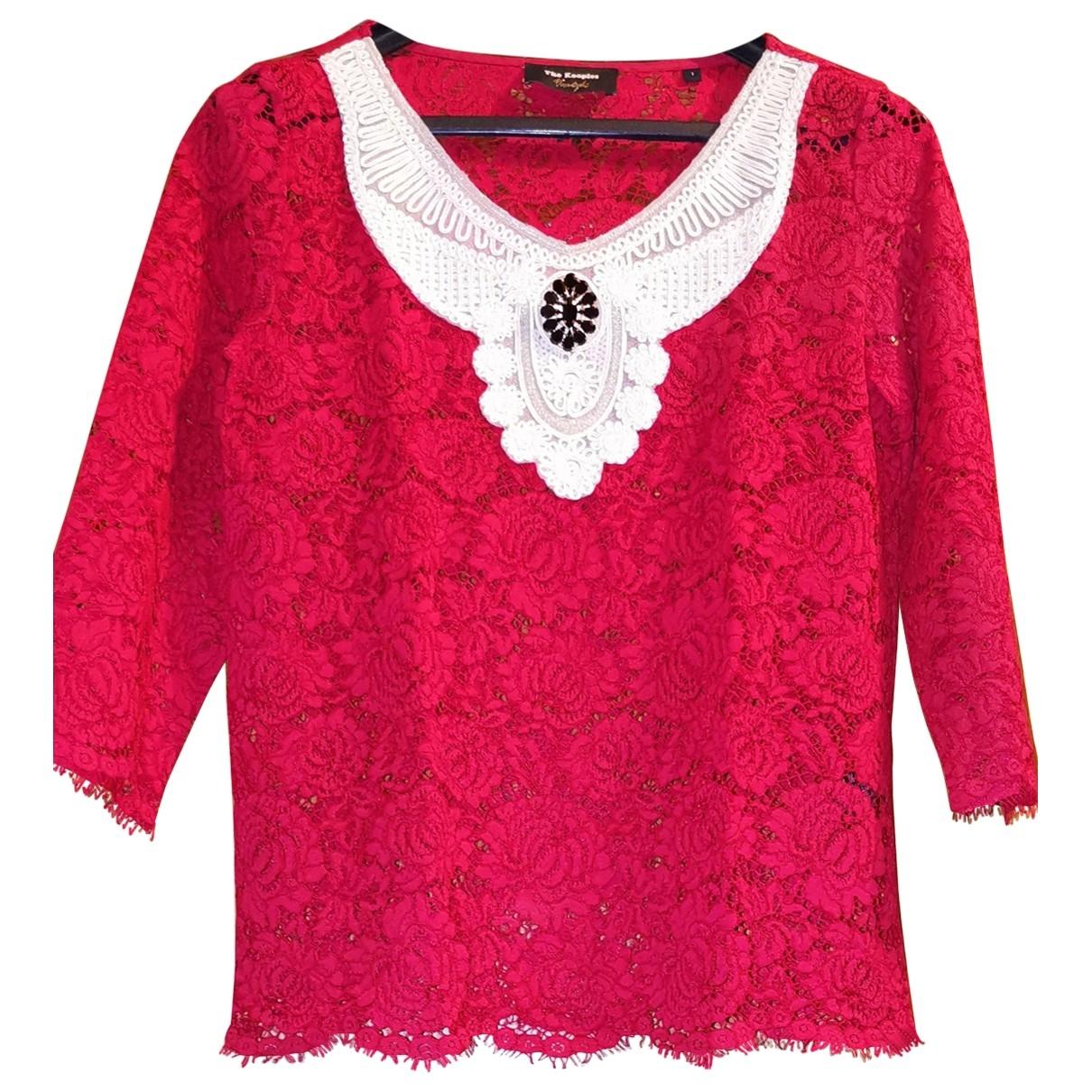 The Kooples - Top   pour femme en dentelle - rouge
