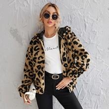 Zipper Front Leopard Teddy Hooded Jacket
