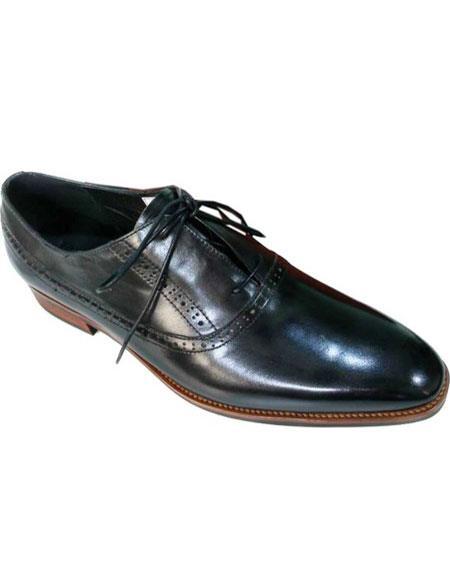 Mens Plain Toe Black Premium Leather Lace Up Shoe