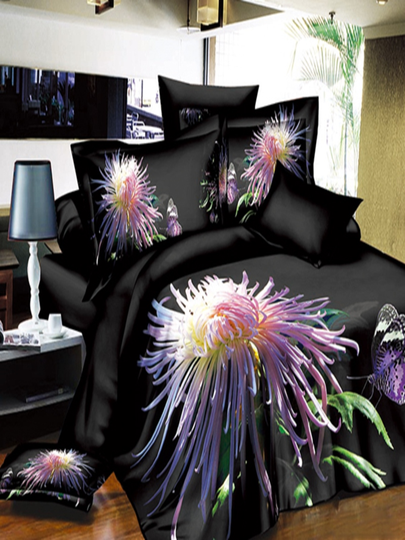 Charming Night Chrysanthemum Flower Print 4-Piece Polyester 3D Duvet Cover Sets