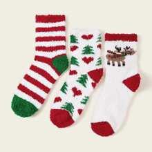 3 pares calcetines con patron de arbol de navidad