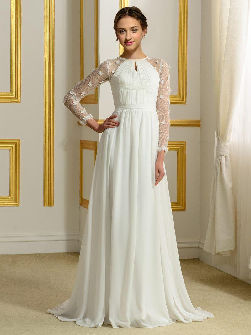 Ericdress Sequins Flowers Long Sleeves Beach Wedding Dress