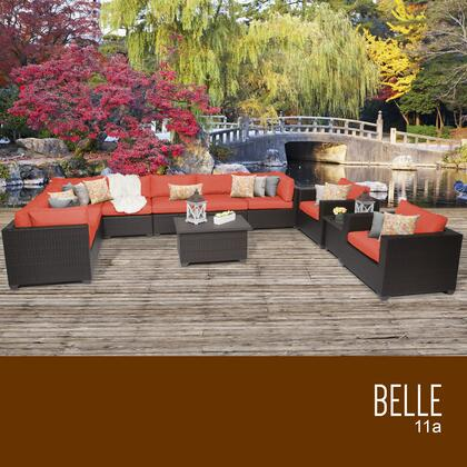 BELLE-11a-TANGERINE Belle 11 Piece Outdoor Wicker Patio Furniture Set 11a with 2 Covers: Wheat and