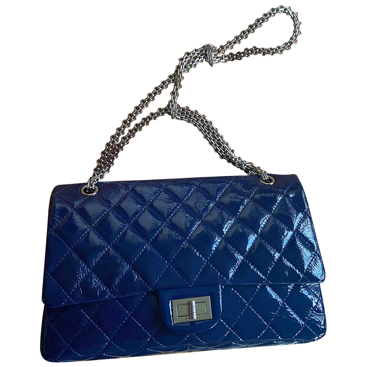 Chanel 2.55 Handtasche in  Blau Lackleder
