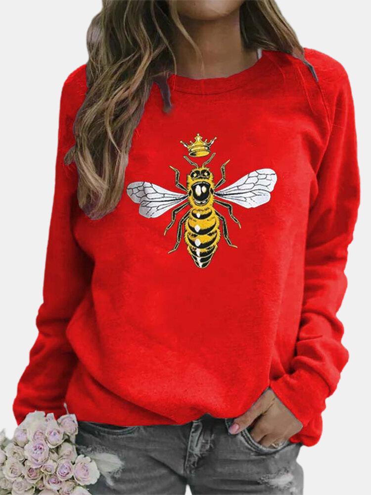 Cartoon Bee Printed O-neck Long Sleeve Sweatshirt