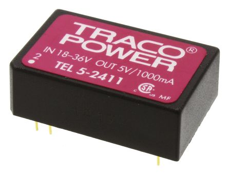 TRACOPOWER TEL 5 5W Isolated DC-DC Converter Through Hole, Voltage in 18 → 36 V dc, Voltage out 5V dc