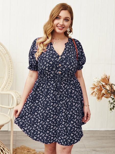 Yoins PLus Size V-neck Calico Belt Design Short Sleeves Mini Dress