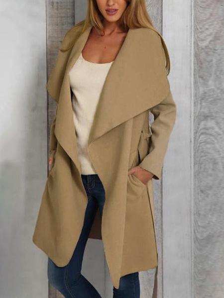 Yoins Belt Design Lapel Collar Long Sleeves Trench Coat