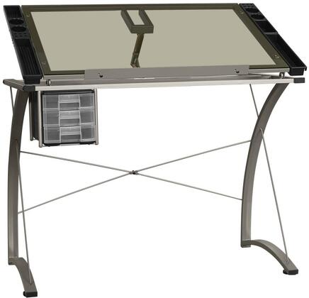 8728 Home Office Desk Drafting Craft Station Table with Clear Tempered Glass Top  Tilt Angle Adjustment  Utensils Storage and Metal Base in