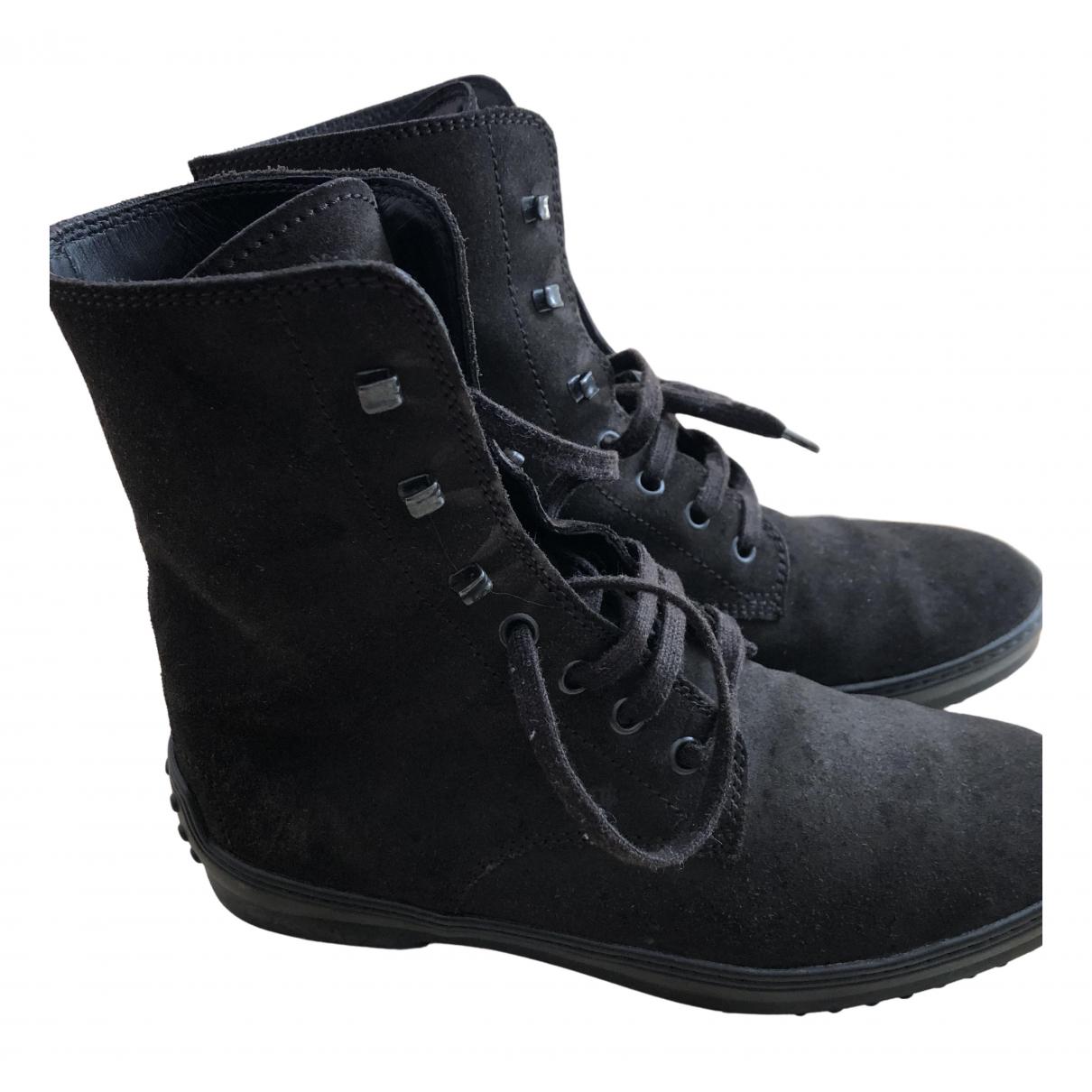 Tod's - Boots   pour femme en suede - marron