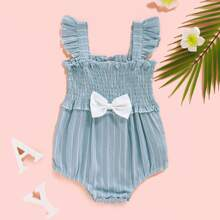 Baby Girl Shirred Frill Trim Ruffle Straps Bodysuit