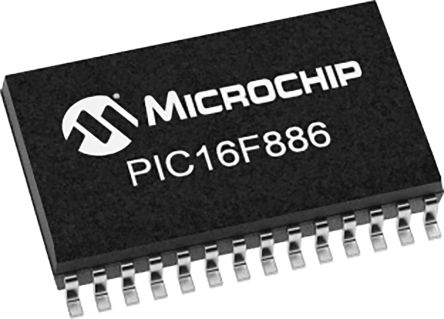 Microchip PIC16F886-E/SS, 8bit PIC Microcontroller, PIC16F, 20MHz, 14 kB Flash, 28-Pin SSOP (47)