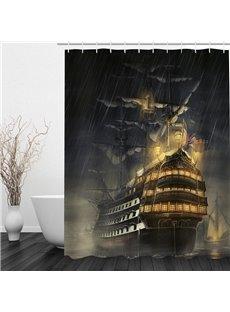 Retro Warships in the Night 3D Printed Bathroom Waterproof Shower Curtain