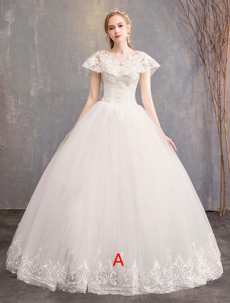 Milanoo Tulle Wedding Dresses Ivory Jewel Lace Applique Short Sleeve Princess Bridal Gown