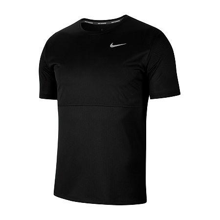 Nike Mens Crew Neck Short Sleeve Moisture Wicking T-Shirt, Large , Black