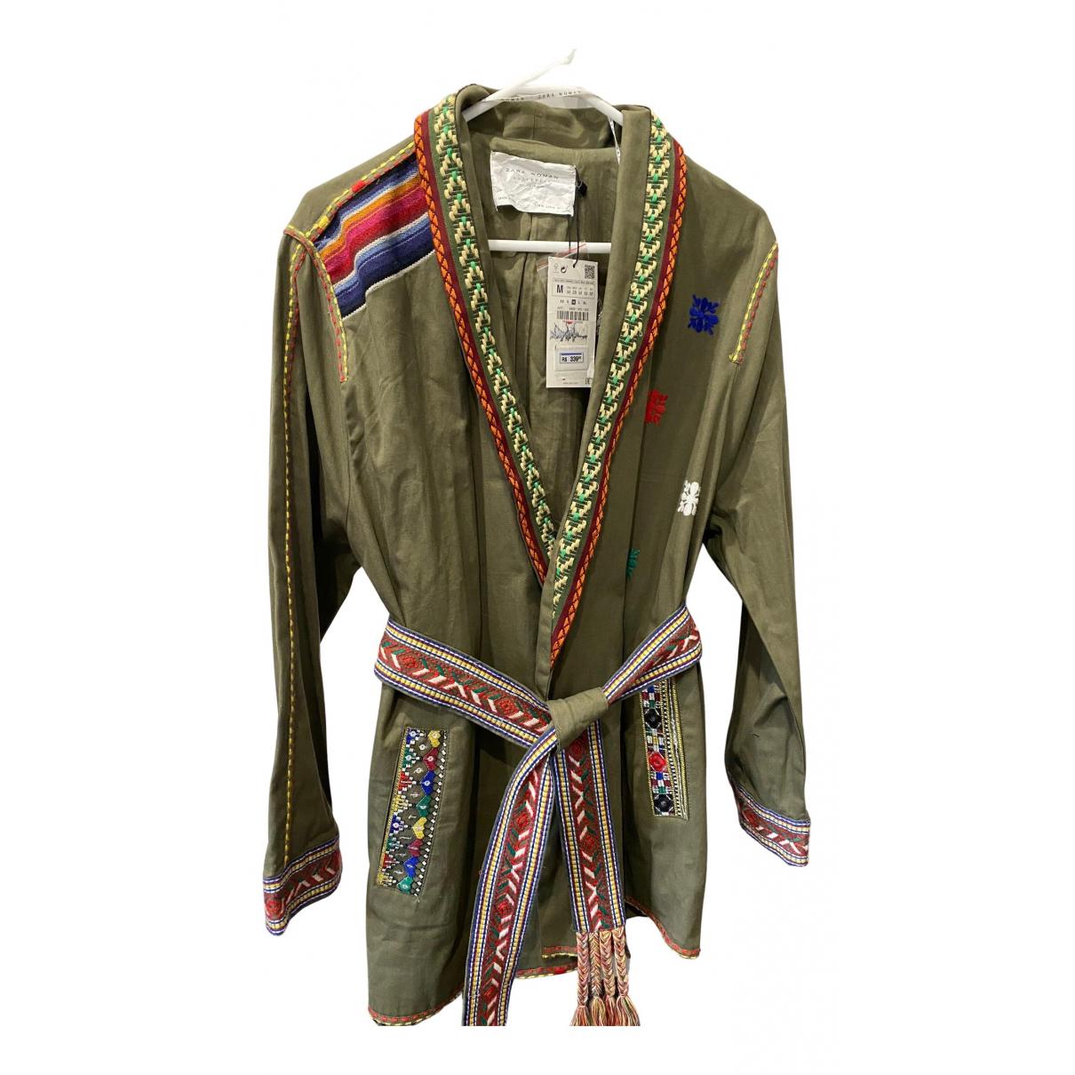 Zara - Veste   pour femme en coton - vert