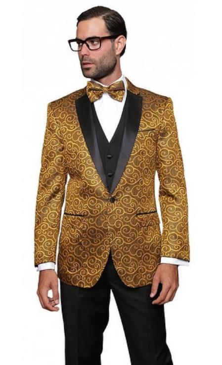 Mens Gold 3 Piece Modern Fit Notch Lapel Side Vent Suit Solid Black