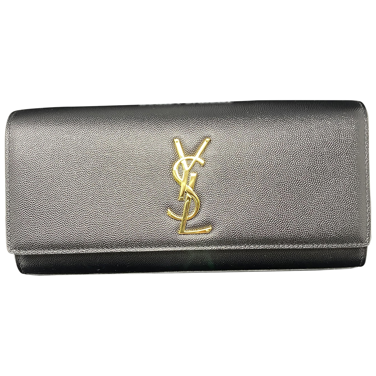 Saint Laurent Kate monogramme Clutch in  Schwarz Leder