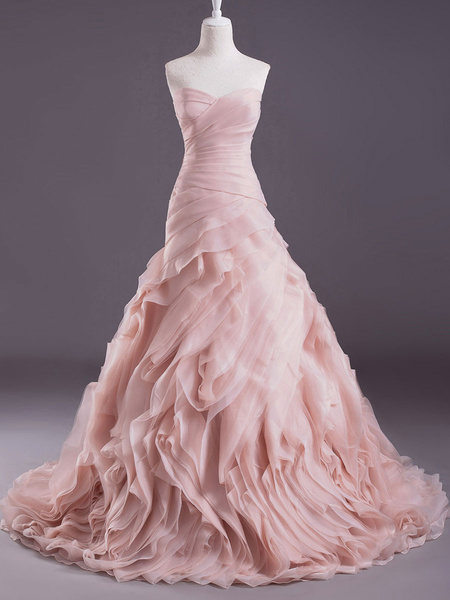Milanoo Pink A-line Strapless Sweetheart Neck Tiered Sweep Wedding Gown