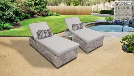 Monterey Collection MONTEREY-2x-ST-ASH Patio Set with 2 Chaises   1 Side Table - Beige and Ash