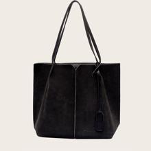Bolsa tote simple minimalista con bolsillo interior