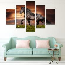 5pcs Horse Print Wall Painting Without Frame