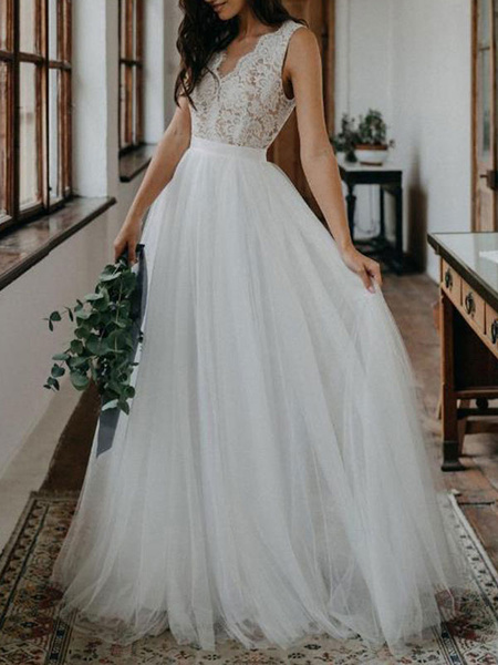 Milanoo Vestidos de novia sencillos de linea A sin mangas Vestidos de novia Boda Marfil con cuello en V cintura natural de encaje de tul Sin espald