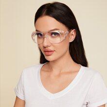Schutzbrille mit flacher Oberseite und klarem Rahmen
