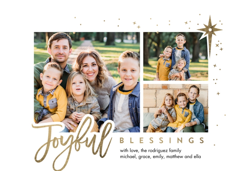 Christmas Photo Cards 5x7 Cards, Premium Cardstock 120lb with Elegant Corners, Card & Stationery -Christmas Joyful Blessings by Tumbalina