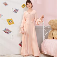 Peter Pan Collar Button Front Lace Trim Nightdress